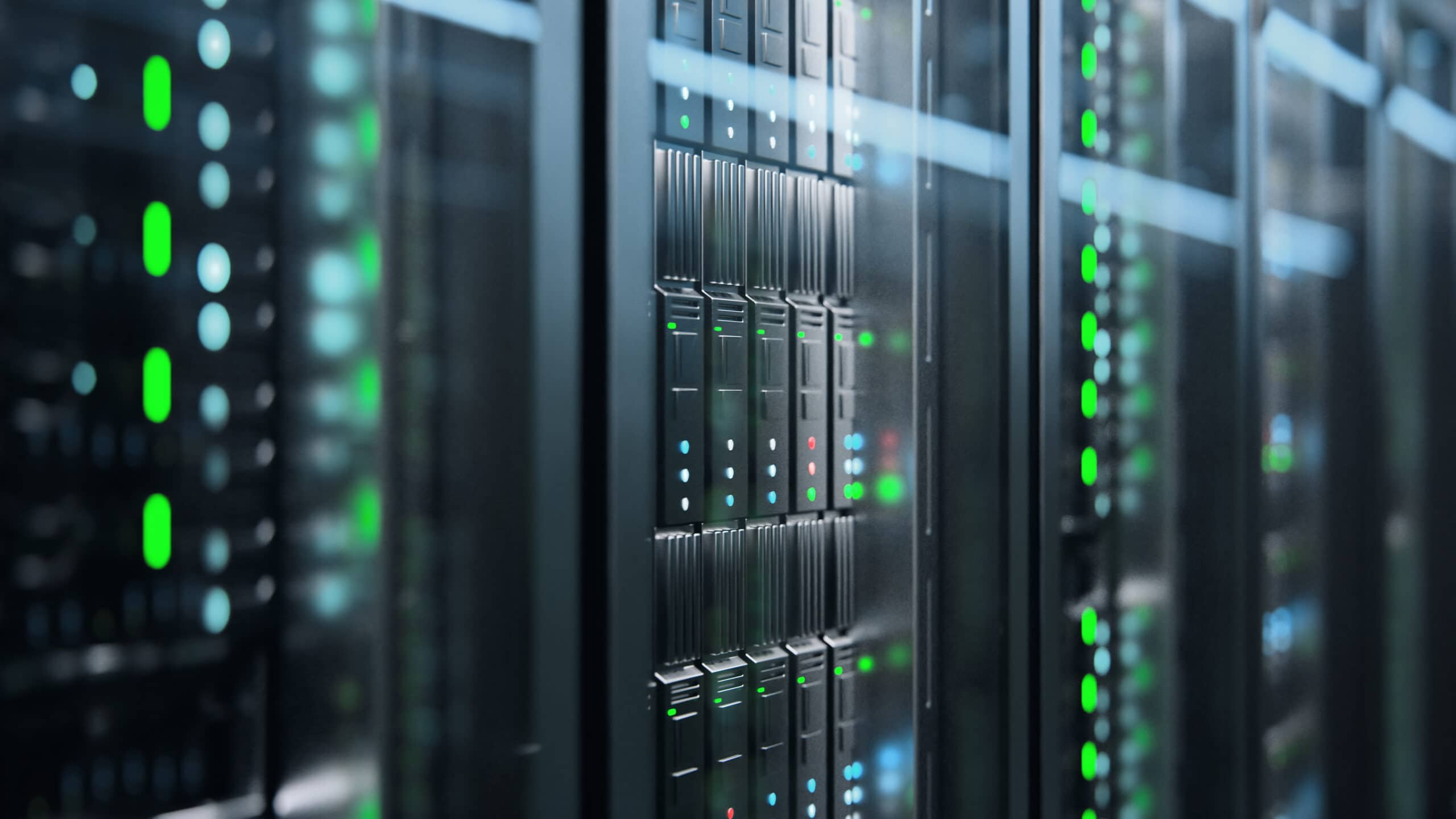 Camera slowly moving in data center showing server equipment with flickering light indicators, close up view. Seamlessly looped photorealistic 3D render animation.