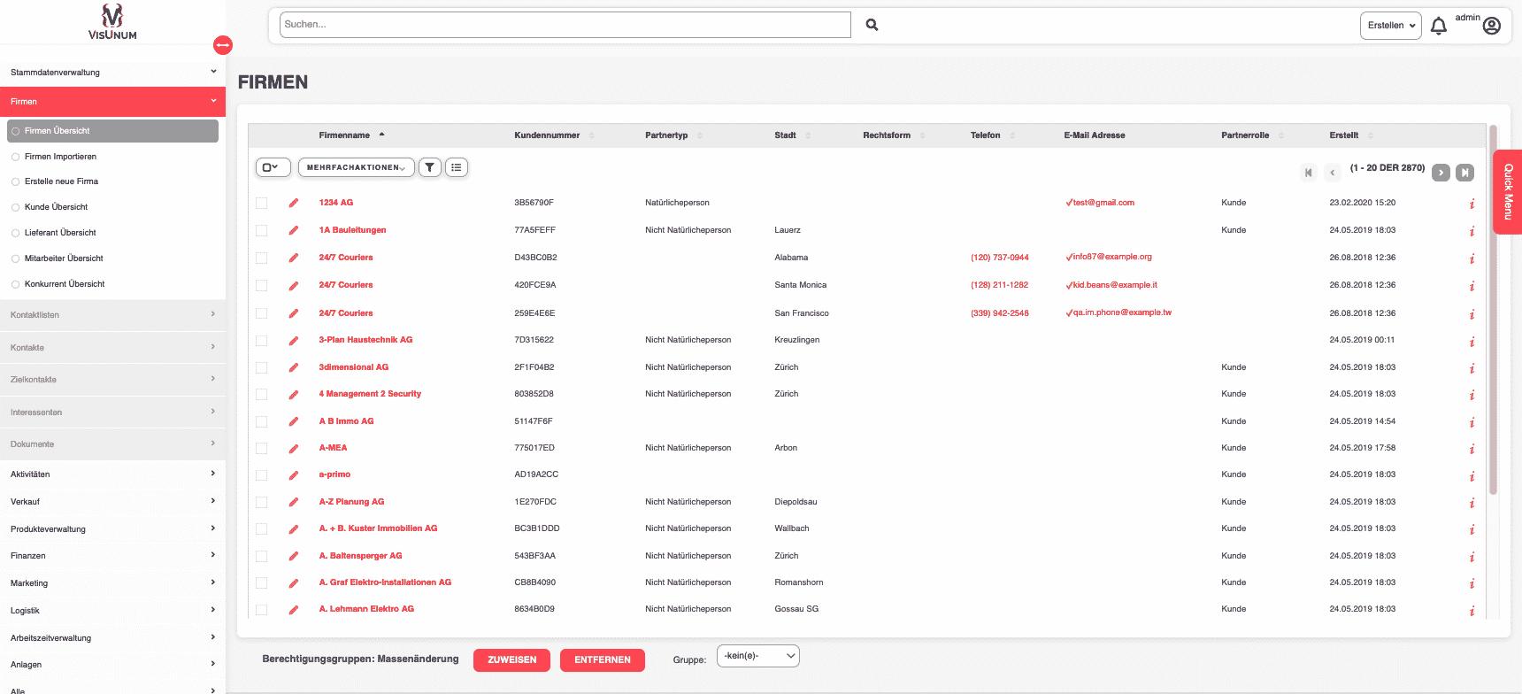 Visunum ERP Stammdatenverwaltung